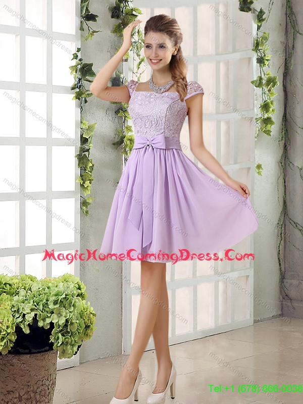 2015 Fall New Style Chiffon Homecoming Dresses with Ruching Bowknot