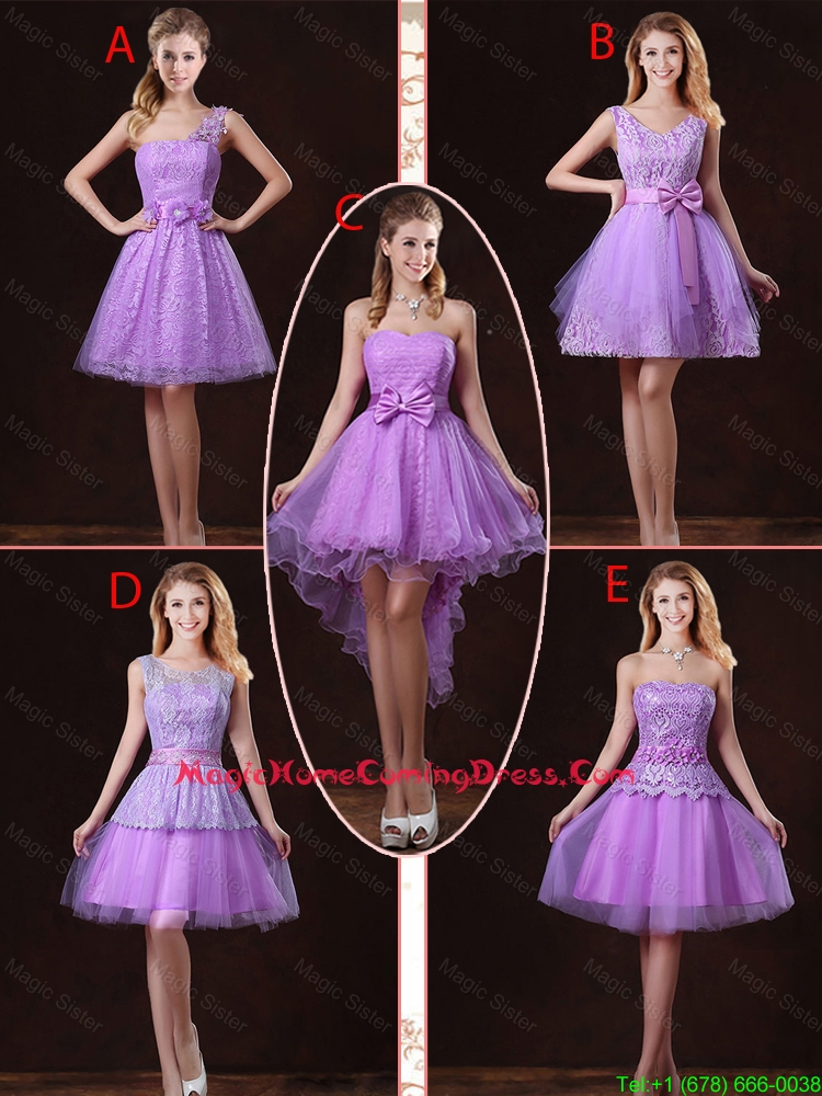2016 Popular Laced Lilac Homecoming Dresses with A Line