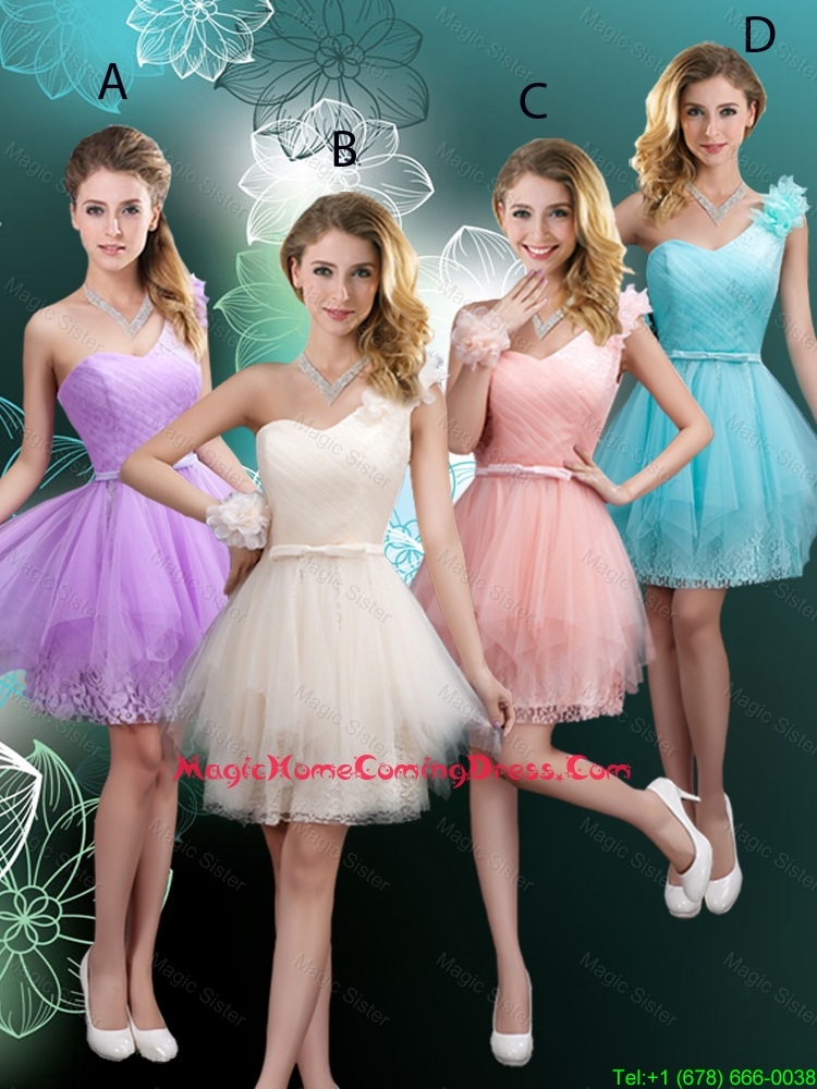 Discount Short One Shoulder Homecoming Dresses with Hand Made Flowers