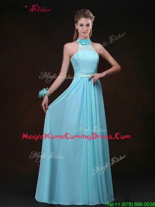 Hot Sale Empire Halter Top Homecoming Dresses with Lace