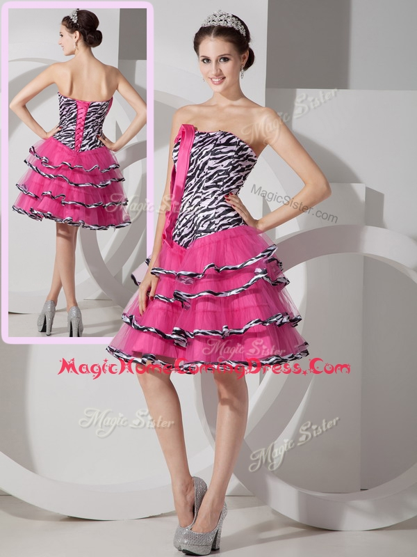 New Style Sweetheart Leopard and Ruffled Layers Homecoming Dresses