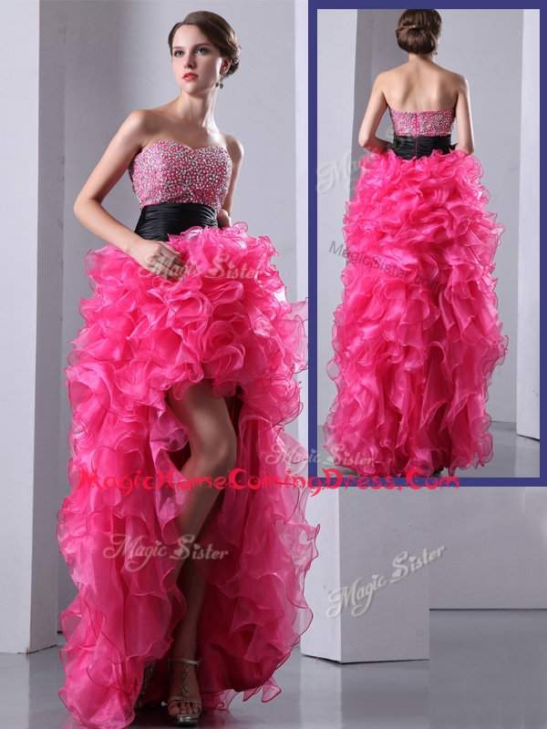 Exquisite High Low Hot Pink Homecoming Dress with Ruffles