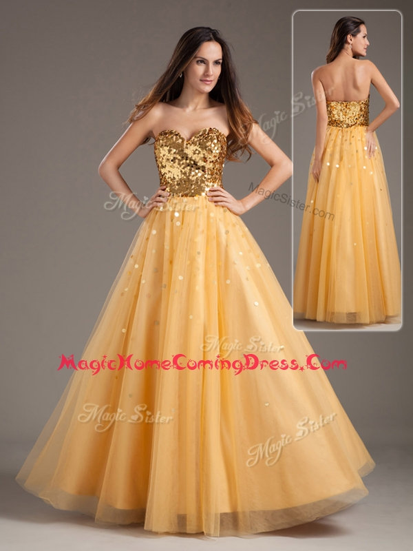 Luxurious Princess Sweetheart Sequins Long Homecoming Dresses in Gold