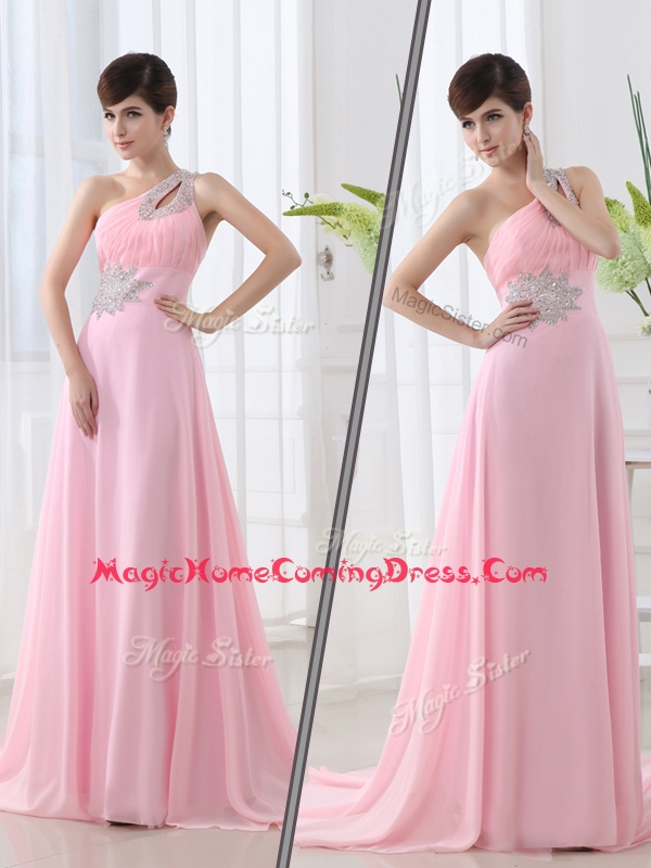 Fashionable One Shoulder Brush Train Beading Baby Pink Homecoming Dress