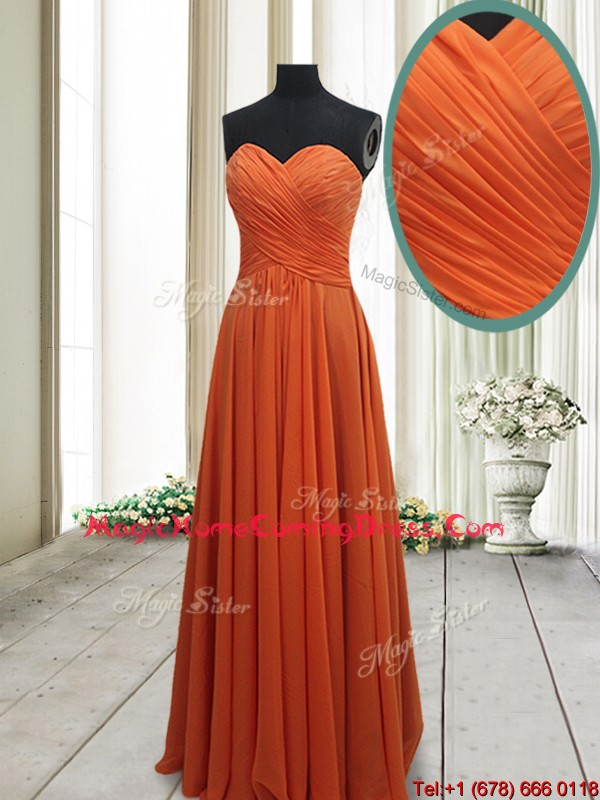 Best Selling Empire Ruched Chiffon Orange Red Homecoming Dress in Floor Length