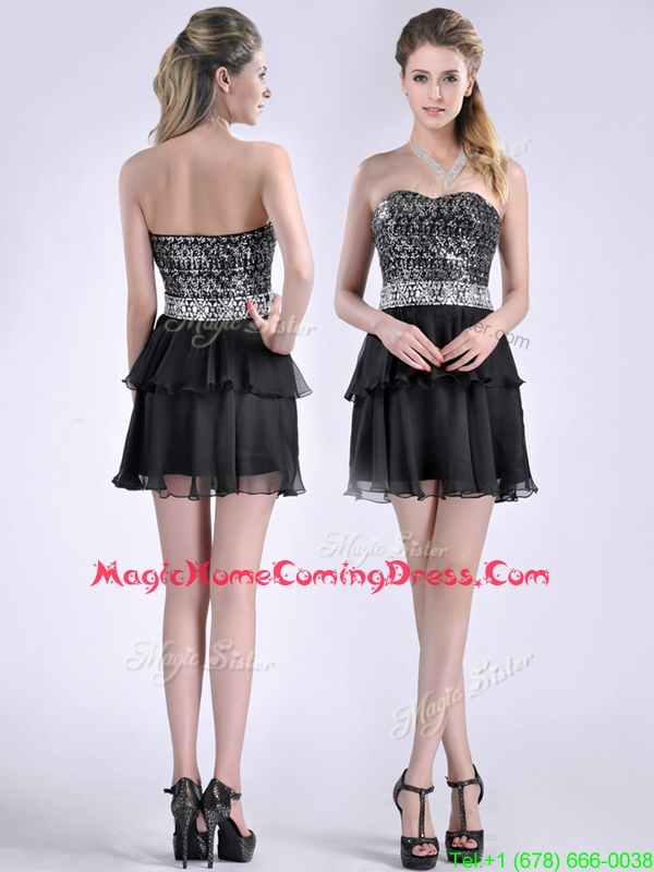 Casual Cheap Sweetheart Black Short Homecoming Dress in Sequins and Chiffon