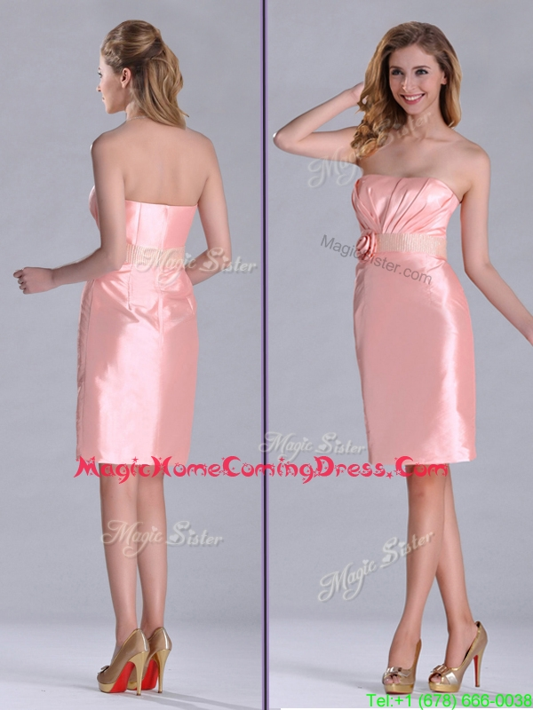Cheap Strapless Hand Crafted Flower Peach Homecoming Dress in Satin