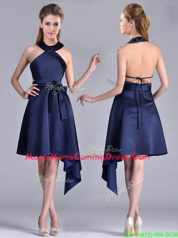 Elegant Halter Top Asymmetrical Navy Blue Homecoming Dress in Satin