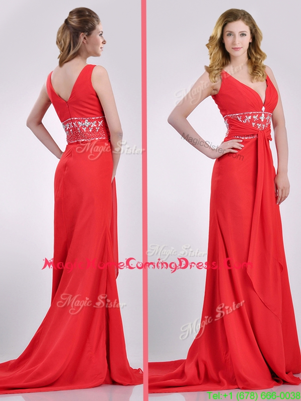 Beautiful V Neck Brush Train Chiffon Beaded Homecoming Dress in Coral Red