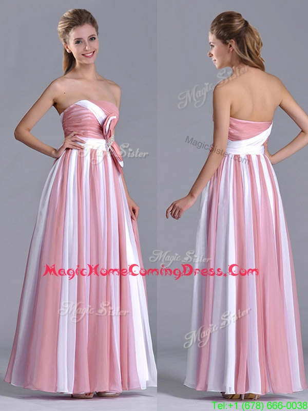 Hot Sale Bowknot Strapless White and Pink Homecoming Dress with Side Zipper