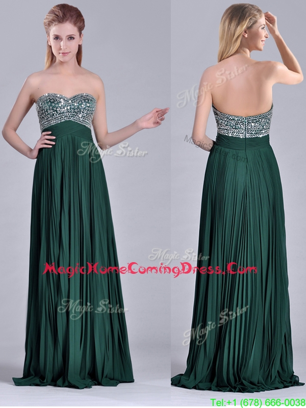 Popular Brush Train Beaded Bust and Pleated Homecoming Dress in Hunter Green