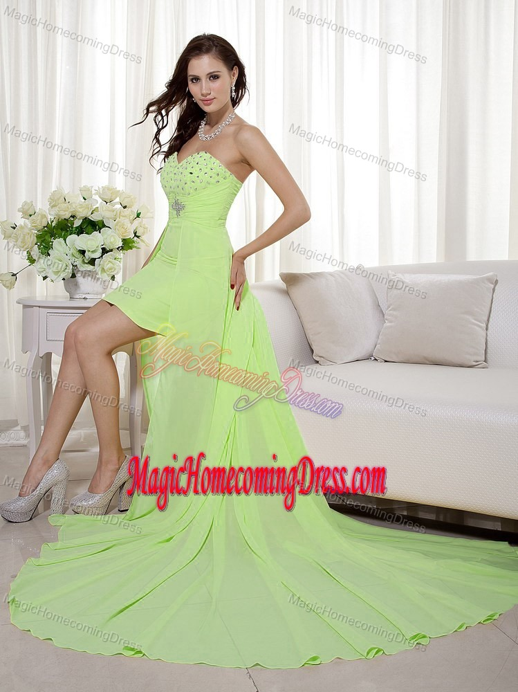 Beaded Yellow Green High-low Homecoming Dress in Kendallville USA