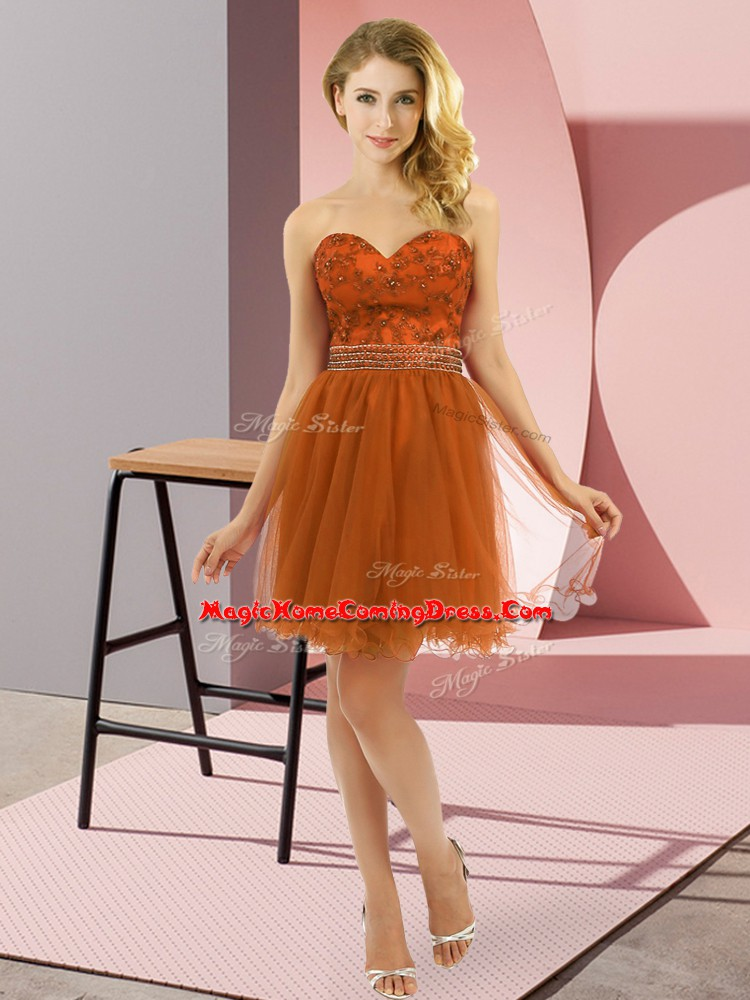 Rust Red Sleeveless Beading Mini Length Homecoming Party Dress