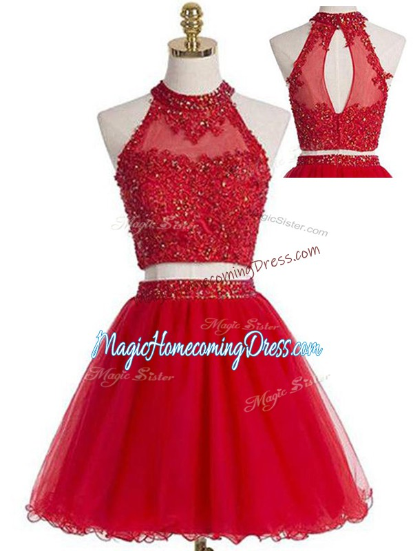 Custom Design Tulle Halter Top Sleeveless Zipper Beading and Appliques Homecoming Party Dress in Red