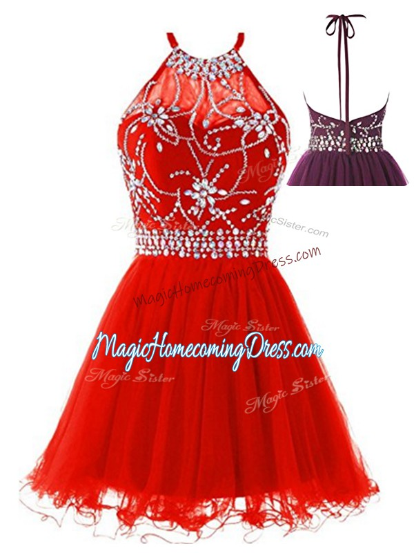 Sleeveless Mini Length Beading Backless Junior Homecoming Dress with Red