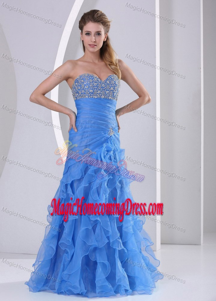 Ruffled Baby Blue Sweetheart Long Vintage Homecoming Dresses Beading and Ruches