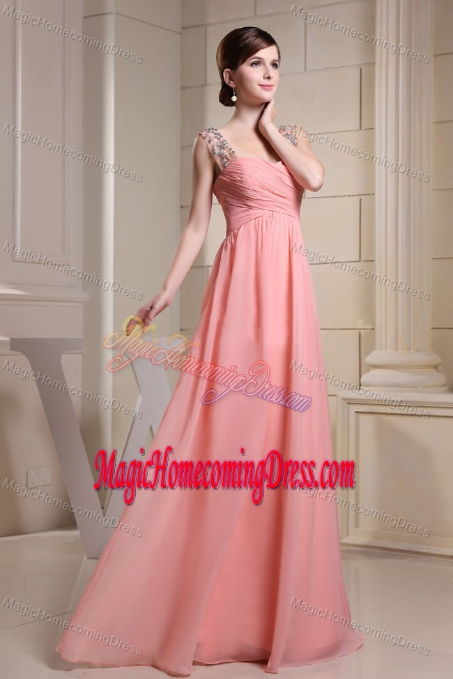 Beading Decorated Straps Floor-length Junior Homecoming Dresses in Watermelon