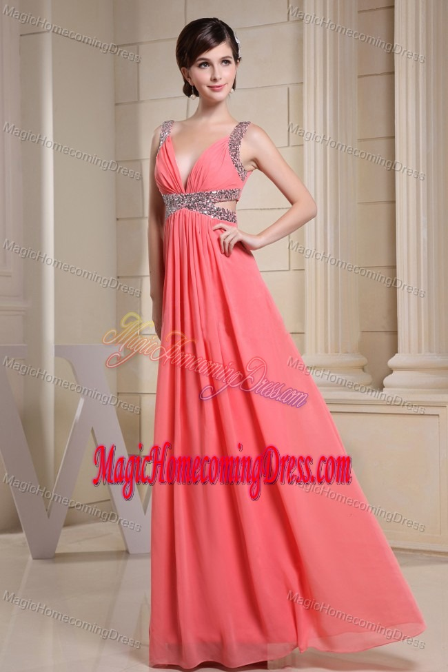 Floor-length V-neck Beaded Watermelon Straps Homecoming Dresses in Bristol
