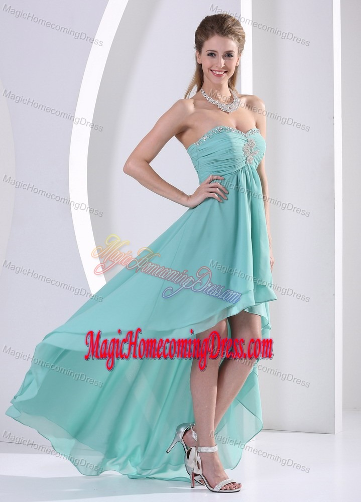 High-low Beaded Lace-up Honolulu Celebrity Homecoming Dress with Ruches