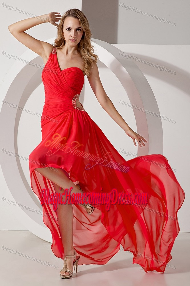 One Shoulder High-low Perfect Homecoming Dresses with Beading
