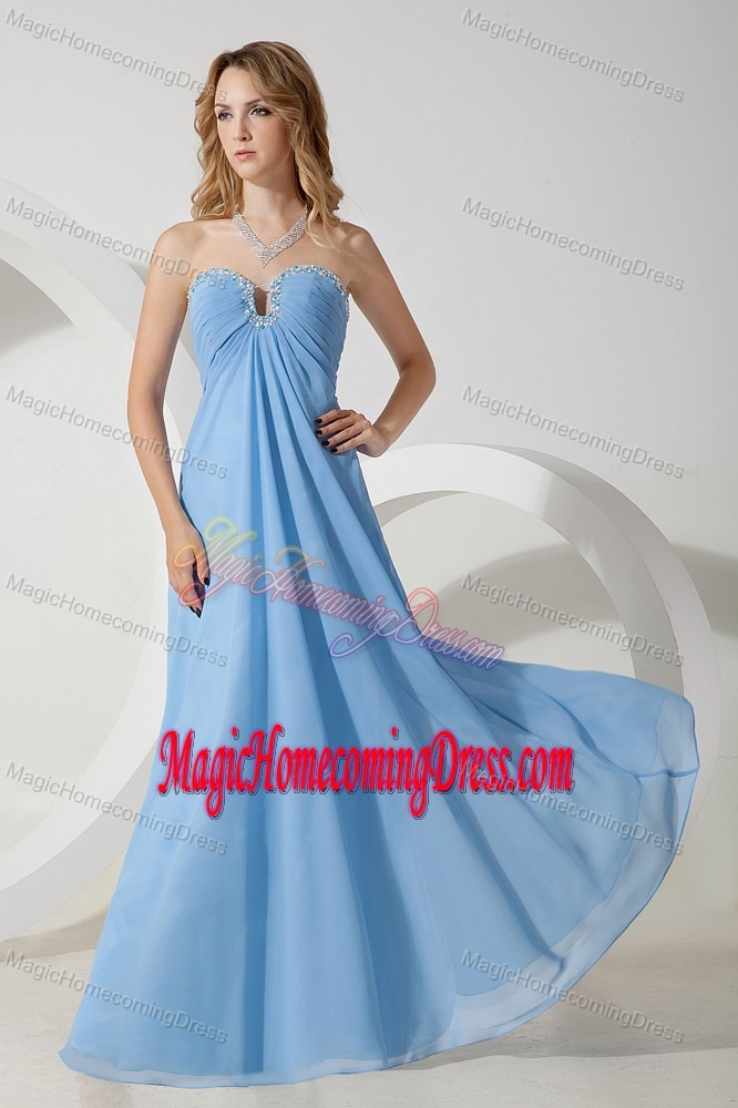 Baby Blue Empire Beaded Homecoming Evening Dress Made in Chiffon