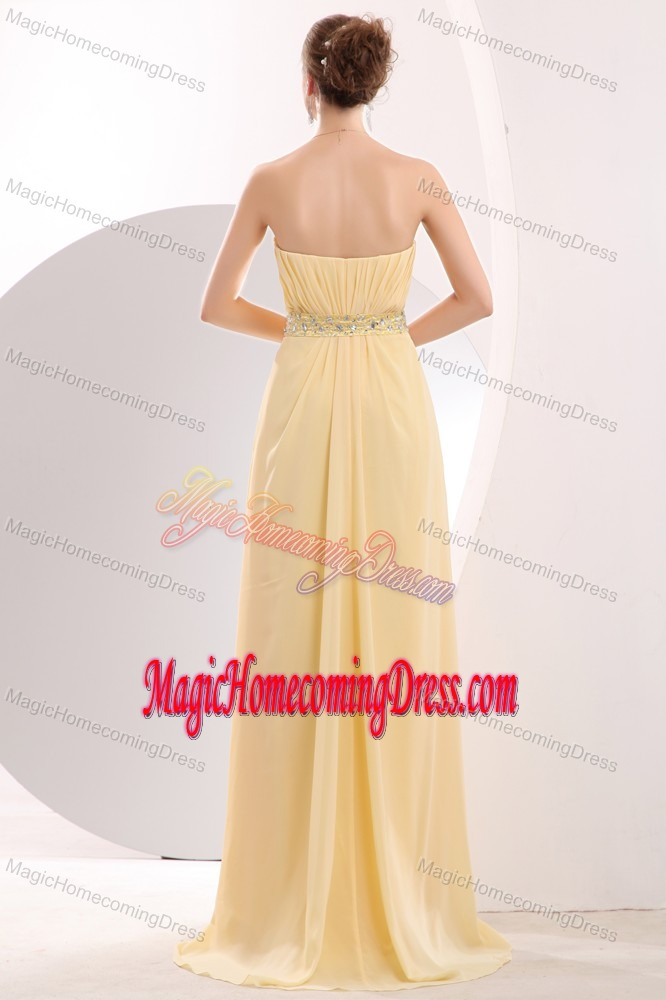 Light Yellow Sweetheart Cute Homecoming Dress with Beading