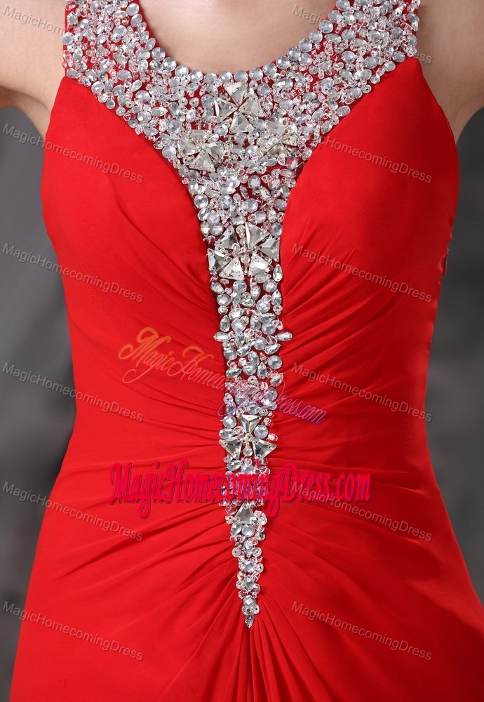 Beaded Decorate Scoop Brush Train Red Sparkly Homecoming Dresses in Albion