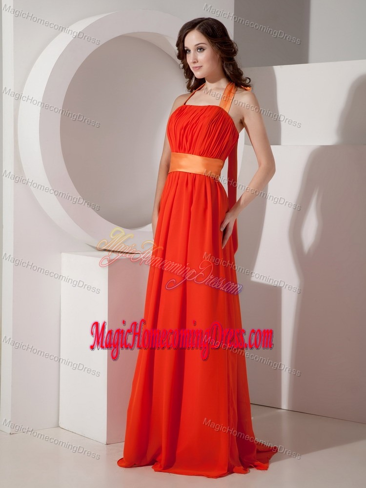 Orange Halter Homecoming Dresses with Sashes and Ribbons Designer in Albany