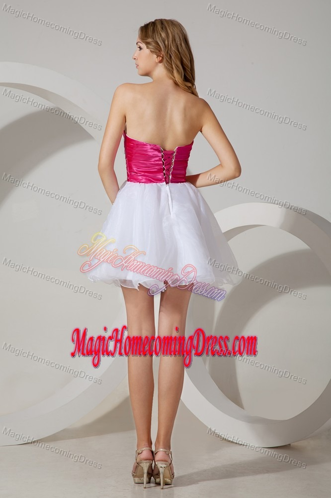 White A-line Strapless Short Homecoming Dresses with Beads in fort Morgan