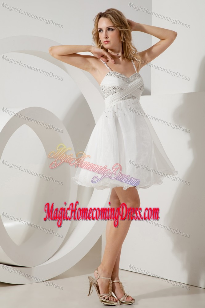 A-line or Princess Straps Beaded White Cute Homecoming Dresses in fort Deposit