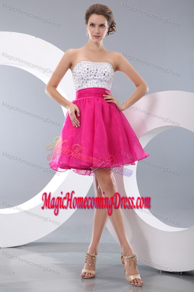 Pretty Hot Pink and White Strapless Short Puffy Homecoming Dress with Beading
