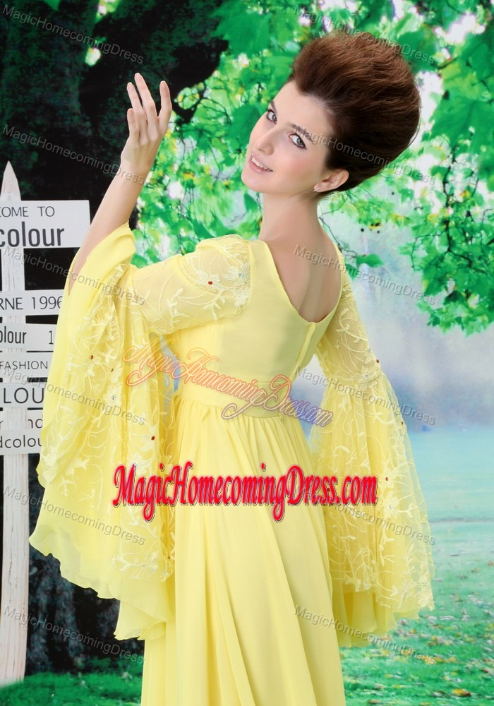 Yellow Scoop Empire Floor-length Homecoming Dresses with Butterfly Sleeves