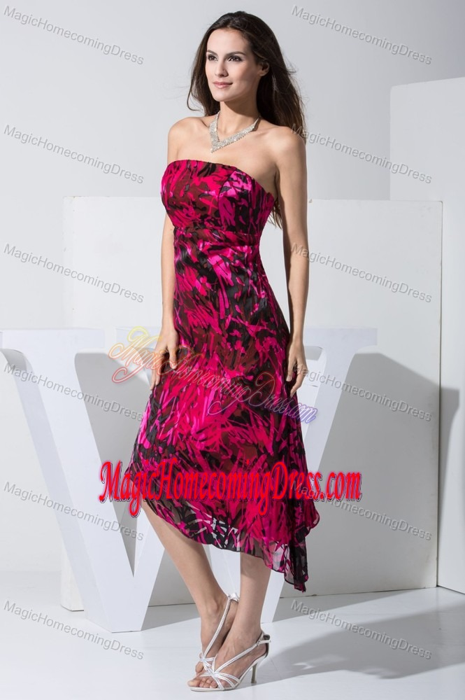 Sweetheart Strapless Homecoming Dresses in Black and Red with Printing