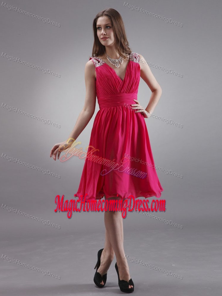 V-neck Coral Red Beading and Ruche Homecoming Dress in Heidenheim Germany