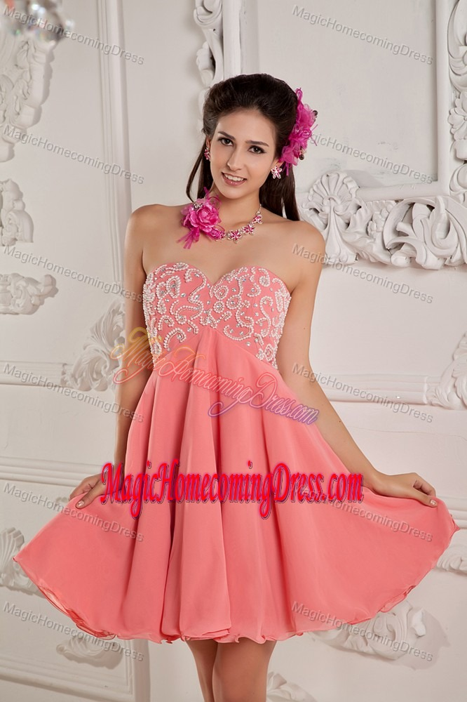 Empire Sweetheart Mini-length Junior Homecoming Dresses in Watermelon