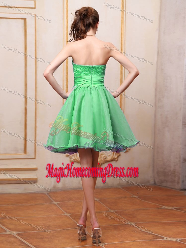 Handmade Flowers Spring Green Sweetheart Homecoming Party Dress