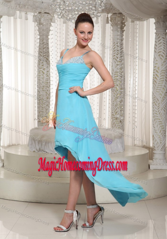 Straps Beading Aqua Blue Kingston Ontario Homecoming Queen Dress