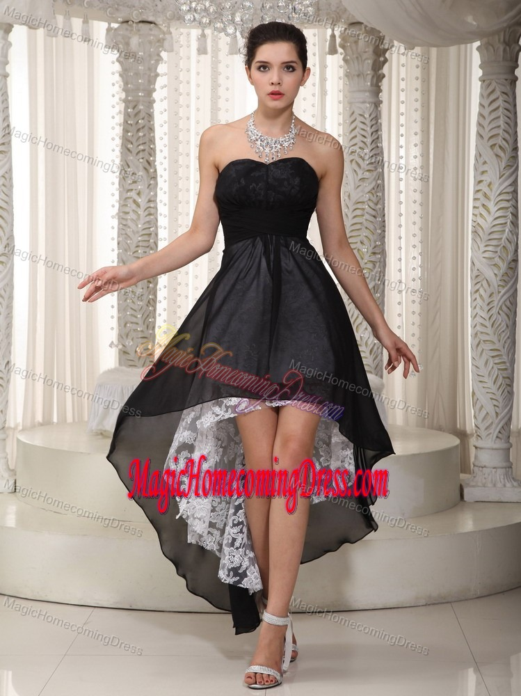 Popular Lace Sweetheart High-low Black Celebrity Homecoming Gowns