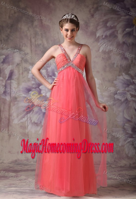 Rhode Watermelon Red Homecoming Cocktail Dress with Beading Straps