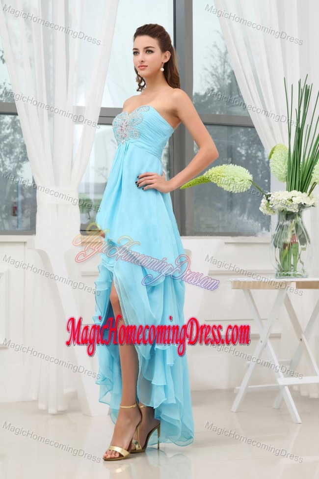 Aqua Blue Appliques Homecoming Dresses with High-low in New Jersey