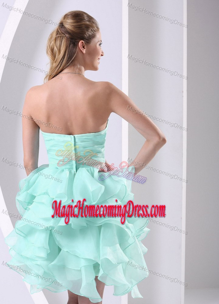 Apple Green Sweetheart Beaded Homecoming Dress with Ruffles in Oklahoma