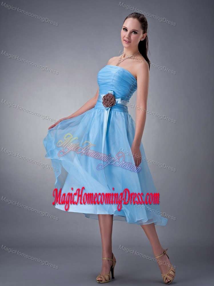 Blue A-Line Strapless Tea-Length Ruched Homecoming Dress for Junior with Flower