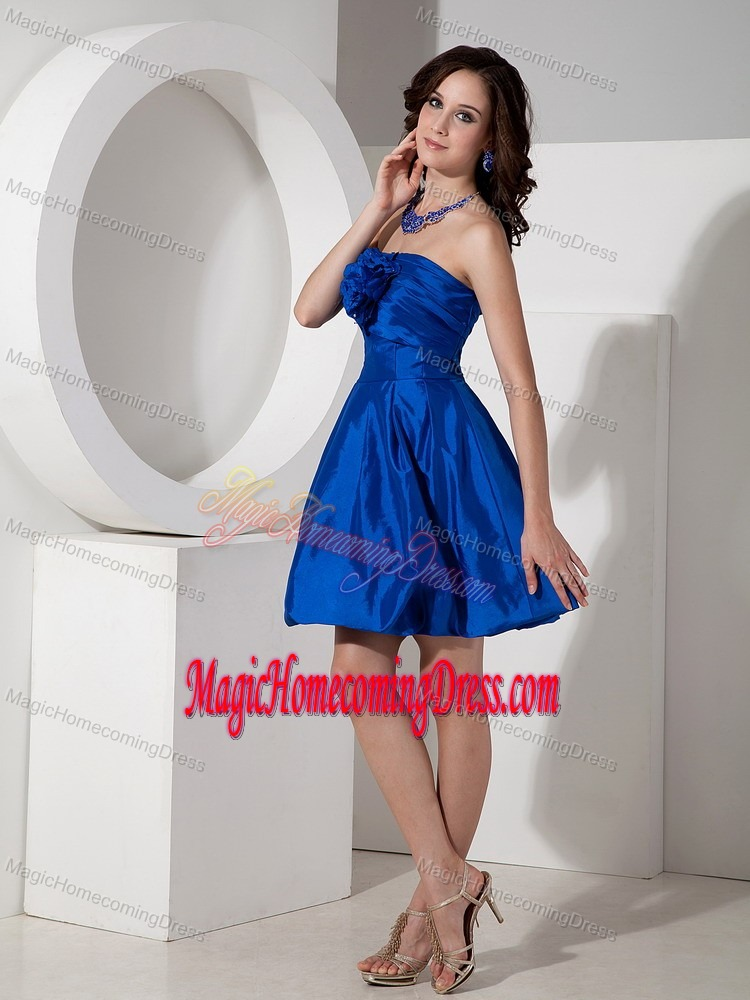 Royal Blue Short-Length Strapless Homecoming Dresses for Junior with Flower