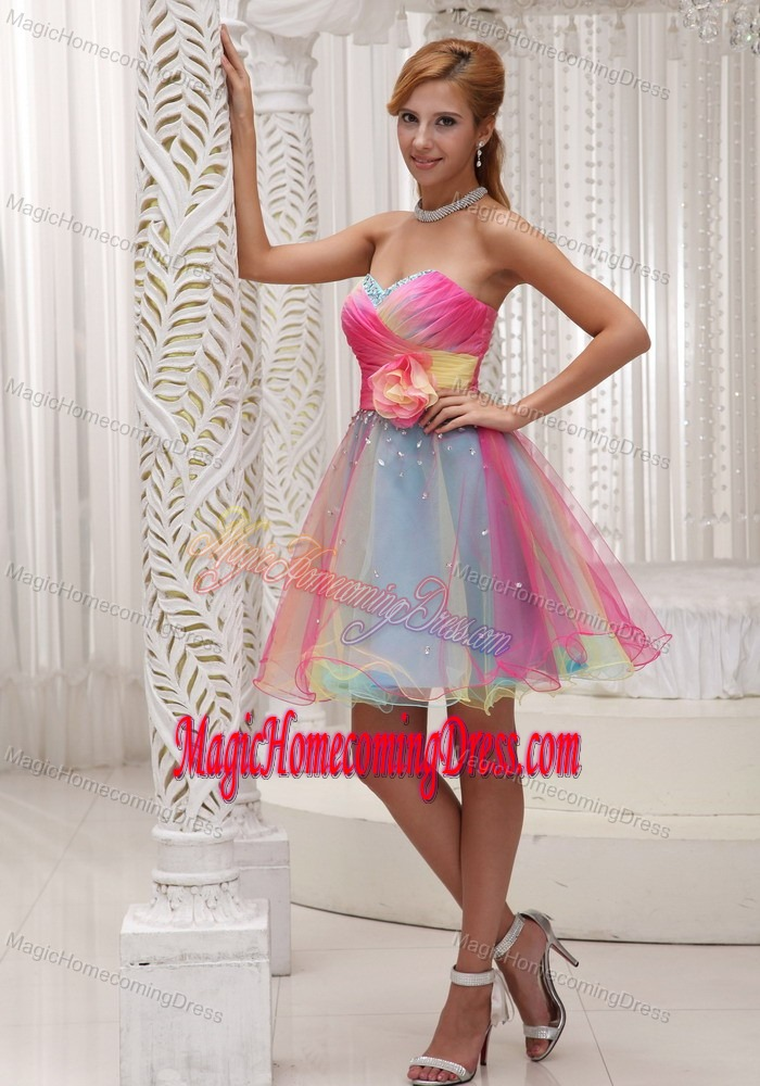 Multi-Colored Mini-Length Sweetheart Ruched Homecoming Dresses with Flower