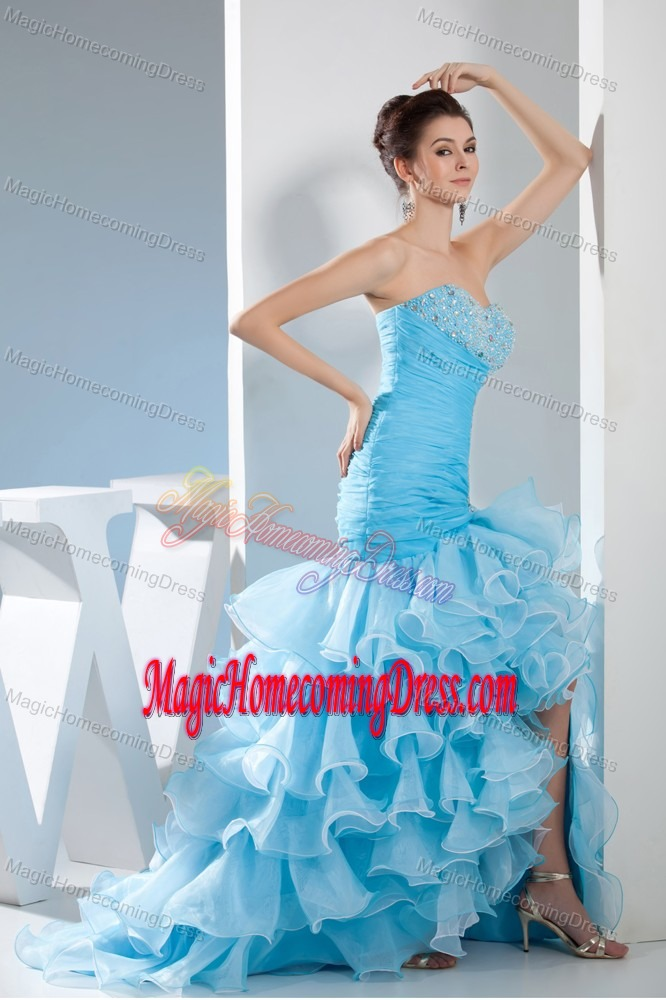 Mermaid Sweetheart High low Beaded Junior Homecoming Dresses in Aqua Blue in