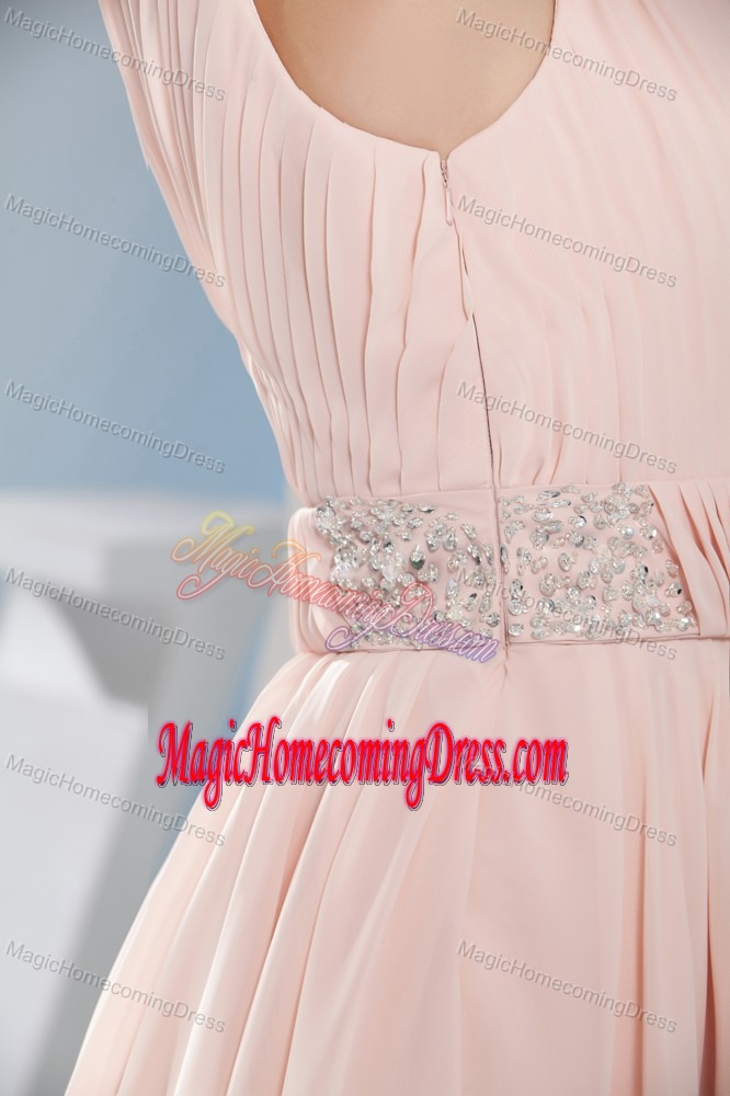 Beaded A-Line One Shoulder Short Designer Homecoming Dresses in Pink in Lamar