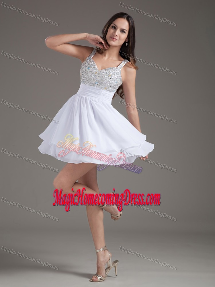 Perfect A-Line Straps 2013 Short White Homecoming Dresses with Beading in Lamar