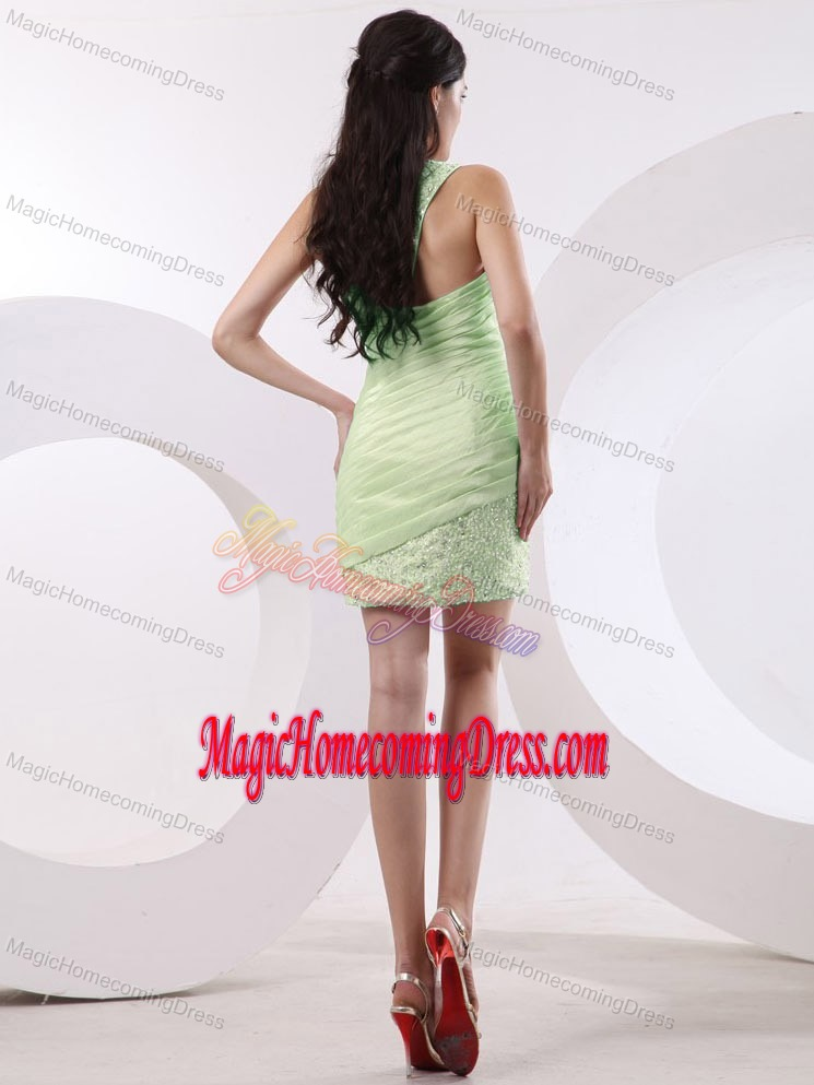 One Shoulder Beading Mini-length Ruched Evening Homecoming Dress in Spring Green