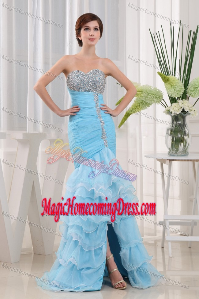 Ruched Beading Baby Blue Sweetheart Homecoming Dresses For Party with Ruffles