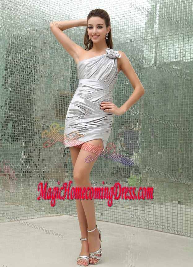 Ruching One Shoulder Short Homecoming Dresses for Juniors in Silver in Slidell